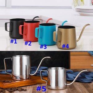 250 ml 350 ml Kahve Pot Paslanmaz Çelik Gooseneck Kahve Makinesi Üzerinde Asılı Asılı Kulak Damla Kahve Musluğu Pot Çay Su Isıtıcısı Araçları Hediye HH7-413