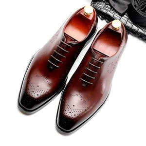 New Summer Style Man Wedding Shoes Genuine Leather Carved Oxfords Round Toe Breathable Men's Formal Dress Flats For Male