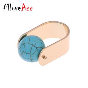 MloveAcc marca Tone anelli anello punk rock sfera Faux pietra di marmo da cocktail per le donne Nuovi monili degli anelli