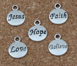 Vintage Silver Hope Believe Love Faith Иисус Шарм Кулон Для Европейский Браслет Ожерелье Серьги Ювелирные Изделия Изготовление Женщин Ремесла Подарки