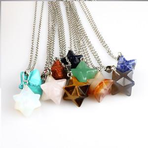 보헤미안 천연석 Merkabah Star Pendant Necklace 오팔 Turquoise Pink Crystal Lazuli Polyhedral Reiki 스테인레스 스틸 체인 목걸이