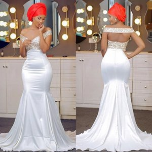 Simple White Mermaid Prom Dress With Golden Appliques Sexy Off Shoulder Sleeveless Zipper Back 2018 Prom Dress Sexy Satin Long Party Gowns
