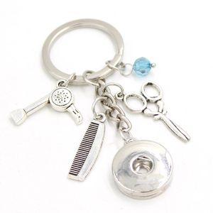 Neue Ankunft Großhandel 18mm Snap Schmuck Friseur Schere Schlüsselanhänger Handtasche Charme Snap Keychain Schlüsselanhänger Schmuck für männer frauen geschenk