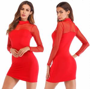 Весна осень женская с длинным рукавом сетки сращивание Sexy Club Party платья элегантный Bodycon mini Sexy dress SML черный красный