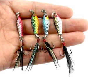 LB003 100PCS 2.5cm 5g 3D Occhi Mini Pacchetto Piombo Pesce Feather Road sub esca metallo esca per pesci