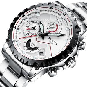 NIBOSI Mens Relógios Top Fashion Assista Homens Esporte Quartz Relógio completa Steel Business impermeável Watch Relogio Masculino