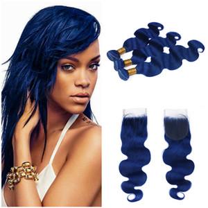 Bundles bleu foncé avec fermeture Body Wave Bundles de cheveux humains ondulés avec fermeture Midnight Blue Offres brésiliennes de cheveux brésiliens avec fermeture
