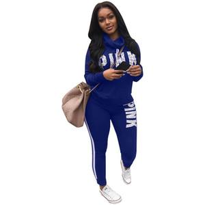 Tuta sportiva da donna Casual Pullover a collo alto Camicia elastica in vita a due pezzi 2018 Personality Letter Print Women Tute