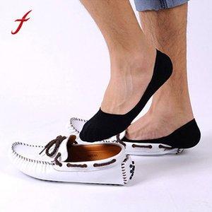 Feitong Cotton Socks Men Pantoufles Fibre de bambou Non-slip Silicone Invisible Boat Compression Chaussettes Printemps Été Male Ankle Socks