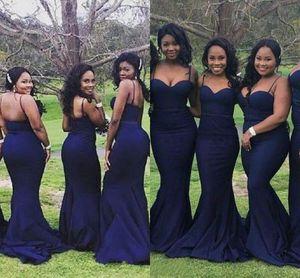 Nueva simple Afraic elegante correa de espagueti sirena vestidos de dama de honor Sexy Sweetheart Sweep tren satinado largo vestidos de fiesta de bodas HY236