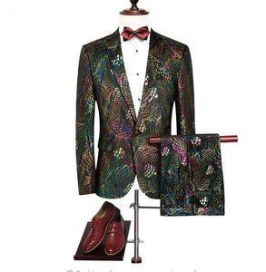 Jacket+Pant+Vest 2018 autumn Men's suit Slim Fit fashion casual wedding dress suits Man Business Men coat blazer plus size wedding dresses