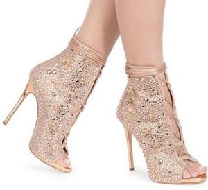 Altın Gümüş Kristal Süslenmiş Yüksek Topuklar Peep Toe Ayak Bileği Çizmeler Gladyatör Sandalet Kadınlar Stiletto Topuklar Parti Ayakkabı Kadın Lace up