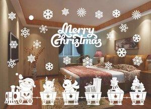 YENİ Tasarım Merry Christmas Pencere Süslemeleri Noel Baba Geyik Kardan Adam Kar taneleri Bells Noel Çıkartmaları Ner Yıl Enfeites