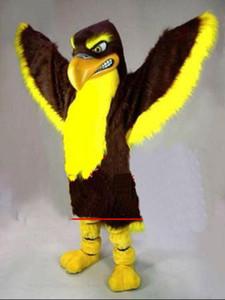 Alta qualidade carnaval adulto águia traje da mascote frete grátis, Real fotos deluxe pássaro partido falcão, falcão traje da mascote direto da fábrica