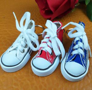 7 colores 3D Sneaker llavero zapatos de lona de la novedad llavero zapatos llavero titular del bolso colgante favorece MOQ 100 unids