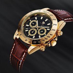 2016 OUYAWEI Brand Man mechanical hand wind Watches Leather Strap 30M dive Sport male black wristwatch relogio masculino