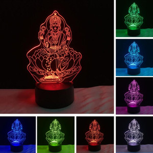 2018 Yeni Dört El Şekil Buda 3D Gece Işık Hediyeler LED 7 Renkli Degrade Illusion Ev Lampara Lampe Bebek Uyku Dekor Xmas Hediyeler