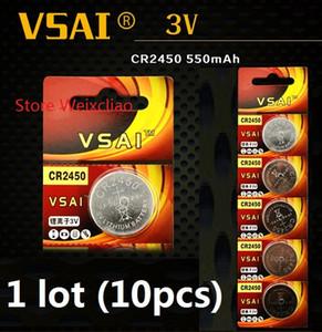 10 unids 1 lote CR2450 3 V batería de ion de litio ion batería CR 2450 3 Volt baterías de moneda de litio VSAI envío gratis