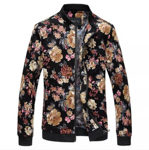 Mens Designer-Blumen-gedruckte Bomber-Jacken-Frühlings-Herbst-dünne passende dünne Mantel-männliche zufällige Outwear asiatische Größe geben Verschiffen frei