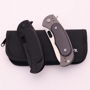 ألياف الكربون الطي سكين d2 بليد التيتانيوم ألياف الكربون مقبض تحمل التكتيكية سكين التخييم بقاء الجيب أدوات السكاكين
