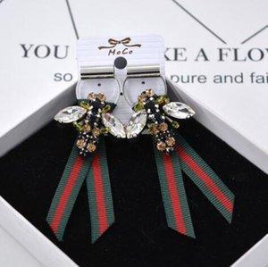 Orecchini di ape di cristallo dell'annata Handmade Bowknot Bowknot Ear Studs Eardrop Women Girl Party Prom gioielli accessori regalo