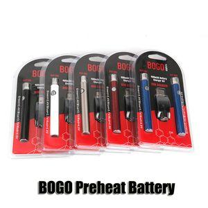 BOGO LO Pré-aqueça Bateria Dupla Caneta Carregador Blister Kit Kit de Tensão Variável VV 400 mAh Bateria Para 510 Rosca Grosso Cartuchos de Óleo