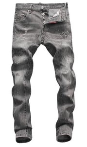 European standing men's jeans, men's jeans, a pair of skinny jeans and black embroidered skulls5
