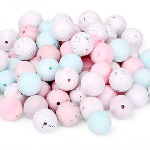 Silikon Kinderkrankheiten Perlen Marmorfarbe Lose Perlen 9mm 12mm 15mm für DIY Kau Halskette Safe BPA Kostenlose Silikonsperlen Pflege Schmuck