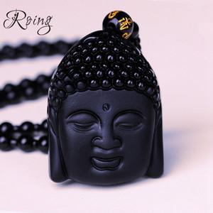 Roing 흑요석 Buddha Sakyamuni 펜던트 구슬 사슬 목걸이 결정 운이 좋은 남자 보석 여자 축복 부적 보석 선물 F014