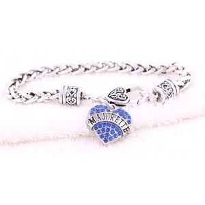 Braccialetto all'ingrosso del cuore per le donne MAJORETTE ha scritto i cristalli scintillanti e la lega di zinco fredda del collegamento a catena del grano Dropshipping
