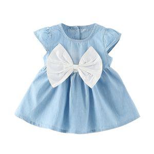 Baby Girls Bow-Knot Design Mini Dress Children Baby Summer Short Sleeve Party Dress Kids Clothes