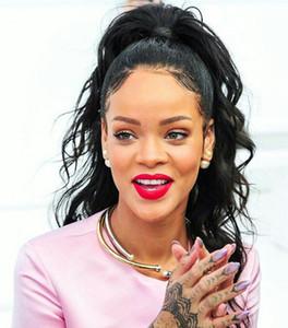 Rihanna clip para cabello de cola de caballo húmeda y ondulada en el cordón brasileño de Virgin Virgin Ponytail Extension con cordón negro 1b 140g 18 pulgadas