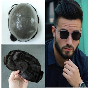 Thin Skin Mens Toupee V-loop Pu Natural Human Hair Hairpiece For Men Replacement Systems Free Style Men Wig