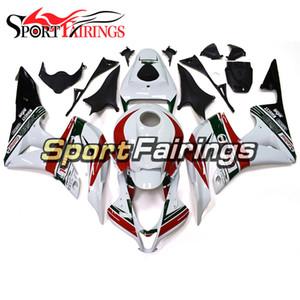 Feiras completas para Honda CBR600RR 2007 2008 CBR600 RR 07 08 Injeção ABS Plástico Fairing Kit Cowlings Bodywork Branco Casco vermelho