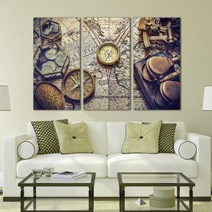 3 stücke leinwand malerei Vintage Weltkarte leinwand poster für wohnzimmer dekoration kein rahmen