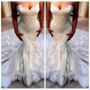 새로운 슬림 2019 년 아가씨 웨딩 드레스 사용자 지정 저렴한 레이스 아플리케 인어 공주 신부 드레스 뒤로 레이스 Tulle Bohemia Vestidos De Mariage