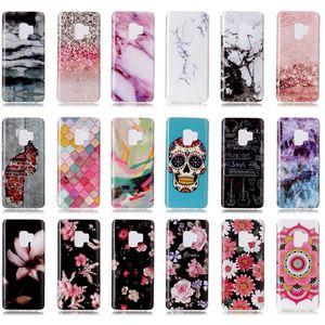 Marmor Rock Flower Skull Hybrid Silikon Naturstein Marmor Siliocne Soft TPU Gel IMD Zurück Fall Deckung für iPhone X 7 8 Samsung S9 Plus