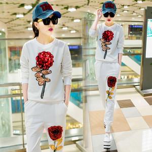 Designer New Spring Leisure Suit Retro Sweat Femme Rose Fleur Sequin précarisés Costume Ensemble 2 pièces Femmes Fleurs sequin Survêtements