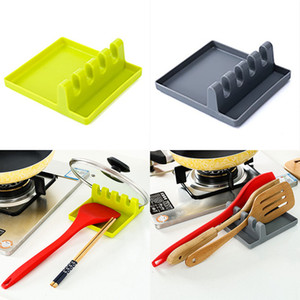 Neue Küchengerät-Rest-Löffel-Topf-Pan-Deckel-Topf-Schaufel-Halter-Nahrungsmittelgrad-hartes Silikon-Werkzeug-Regal-Grau und Grün geben Verschiffen frei WX9-29