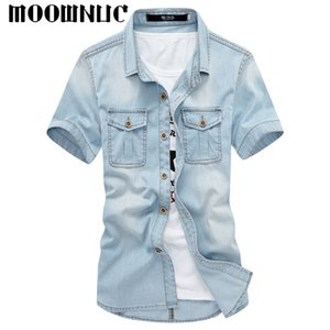 Camisas de moda Manga corta Streetwear Personalidad lavada Clásico Hip-hop Denim Slim Fit Casual MWC Paño de vaquero MOOWNUC Verano