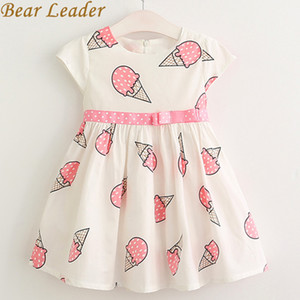 Ayı Lideri Kız Elbise Marka Prenses Elbise O-Boyun Kızlar için Giysi Şerit Yay Desen Baskı Çocuklar Elbise Childern Giyim