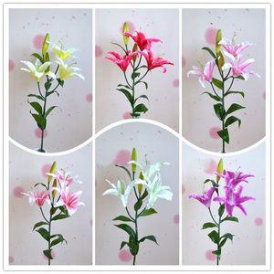 Simulación Lily Living Room Dormitorio Prop Tabla Péndulo Decoración de la boda Home Party Supplies Fake Artificial Flower 6 5hz bb