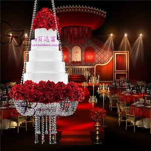 """Wedding Faux Acrylic Crystal Chandelier Style Drape Suspended Cake Swing stand (Crystal, DIA24"""" OR 18"""")"""