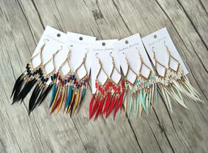 Plume de couleurs mélangées avec la mode Tassel dandle Boucles d'oreilles charme bijoux pour femmes Bohême Boucles d'oreilles résultats ER505