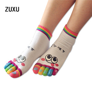 Wholesale- 2017 new fashion cotton cute  face five fingers socks stockings cotton cartoon five toe socks boat socks