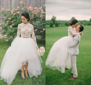 Modest Two Pieces Wedding Dresses Lace Long Sleeves Zipper Back Vestidos De Novia High Low Tulle Country Wedding Gowns