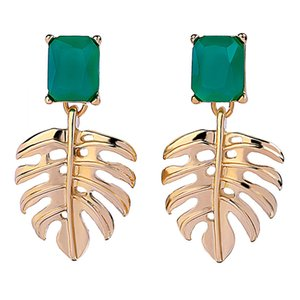 Avrupa Amerikan Moda Takı Yaratıcı Altın Palmiye Yaprağı Bayanlar Saplama Küpe