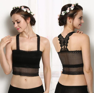 White Black Women Sexy Hollow Lace Tops Butterfly Back Chest Wrapped Bandeau Tube Tops Strap