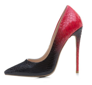 2018 new women high heels sexy dress shoes snakeskin print leather pumps ladies gradient color pumps wedding shoes pointed toe 12cm heel