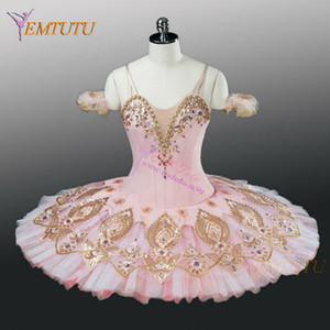 Adult Professional Ballet Tutu Pink Gold Women Nutcracker Fairy Doll Ballet Costumes Sleeping Beauty Pancake Tutu Dress